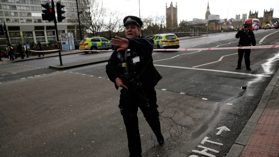 Police secure the area close to the Houses of Parliament in London, on March 22, 2017. (Matt Dunham / AP)