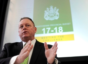 Saskatchewan Finance Minister Kevin Doherty discusses the province's 2017 budget at the Legislative Building in Regina, Wednesday, March 22, 2017. THE CANADIAN PRESS/Mark Taylor.