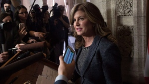 Opposition Leader Rona Ambrose comments on the federal budget after it was tabled in the House of Commons on Parliament Hill in Ottawa, Wednesday March 22, 2017. THE CANADIAN PRESS/Justin Tang