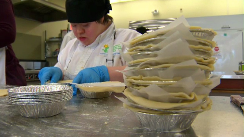 The Mindful Mouthful Bakery in Duncan employs 20 cooks with developmental disabilities who bake tasty treats like cookies, squares and meat pies. March 22, 2017. (CTV Vancouver Island)