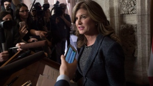 Interim Conservative leader Rona Ambrose comments on the federal budget after it was tabled in the House of Commons on Wednesday March 22, 2017. (Justin Tang / THE CANADIAN PRESS)