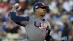 U.S. pitcher Marcus Stroman throws against Puerto Rico during the first inning of the final of the World Baseball Classic, in Los Angeles on Wednesday, March 22, 2017. (AP / Jae C. Hong)