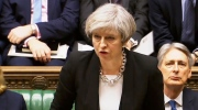 Britain's Prime Minister Theresa May speaks in the Houses of Parliament, Thursday March 23, 2017, following the attack in London Wednesday. (PA via AP)