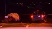 Police are investigating after a van crashed into several vehicles in Surrey Wednesday night, killing the driver of a red sedan. March 22, 2017. (CTV)