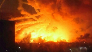Fire rages at a military ammunition depot in Balaklia near Khrakiv in Ukraine on March 23 2017. (Ministry of Emergency Situations press service via AP)