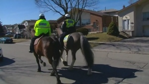 Toronto police patrol the Malvern area where a 10-year-old girl was assaulted by an unknown man.