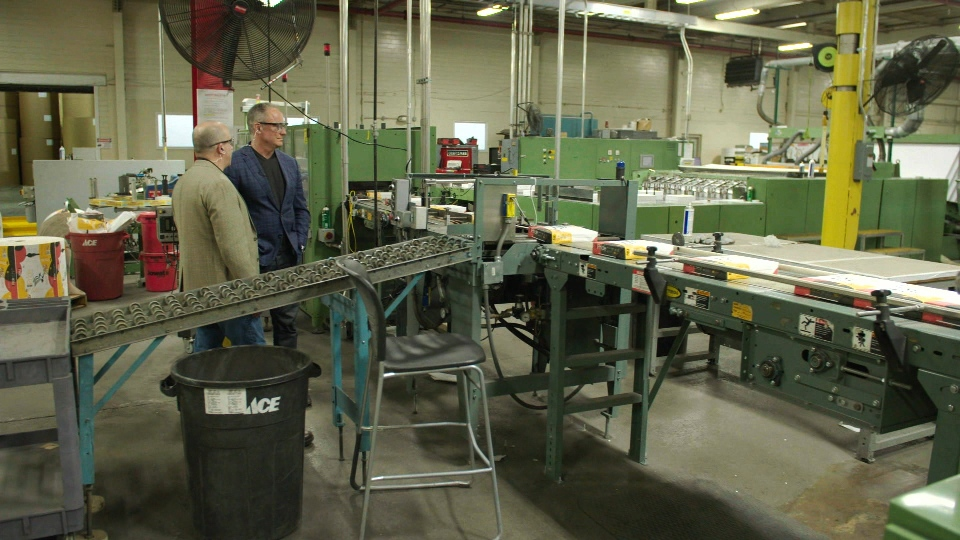 Mike Grimm gives W5 a tour of the American Eagle Paper Mills in Tyrone, PA.