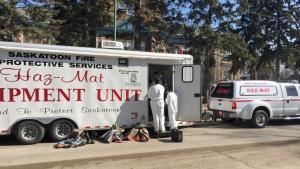 Members of the Saskatoon Fire Department's hazardous materials unit respond to a suspicious package report at Buena Vista School. (Mark Villani/CTV Saskatoon)