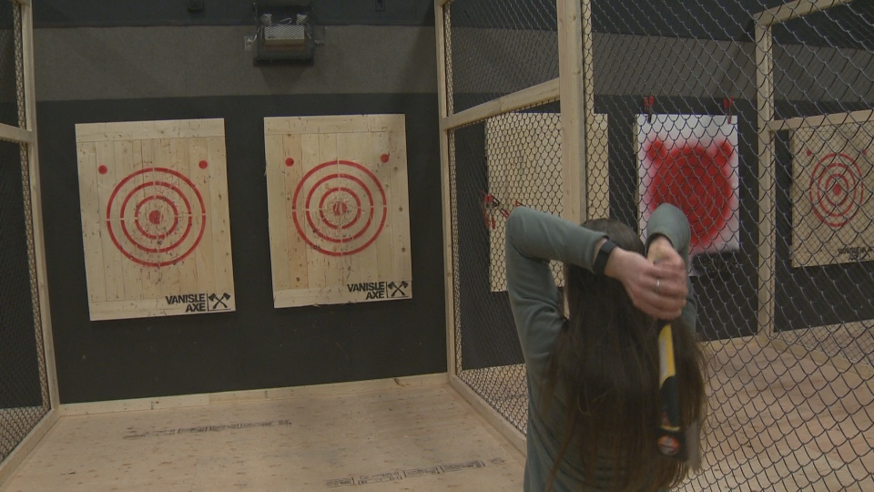 The Middletons have installed an axe-throwing range in a 3,000-square-foot gymnasium, but it's off-limits to kids. March 23, 2017. (CTV Vancouver Island)