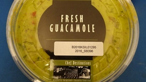 A Chef Destinations container of guacamole is seen in this undated image. (CFIA)