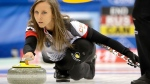 Rachel Homan releases the stone during their match against Russia in the CPT World Women's Curling Championship 2017 in Beijing, China, Friday, March 24, 2017. (AP Photo/Mark Schiefelbein)