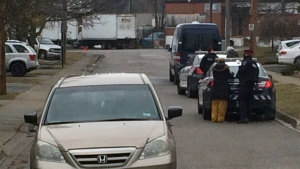 Waterloo Regional Police investigate a road rage incident in the area of Church and Mildred streets in Cambridge on Friday, March 24, 2017. (Dan Lauckner / CTV Kitchener)