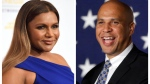 """FILE - In this combination photo, Mindy Kaling, left, arrives at the 41st annual Gracie Awards Gala on May 24, 2016, in Beverly Hills, Calif., and Sen. Cory Booker, D-N.J., addresses supporters during an election night victory gathering on Nov. 4, 2014 in Newark, N.J. Booker has invited Kaling to dinner in Newark after the actress' character on """"The Mindy Project,"""" made a joke about Newark. (AP Photo/Chris Pizzello, left, and Julio Cortez)"""