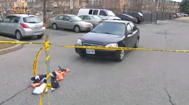 One person was taken to hospital in serious condition after being pinned underneath a vehicle in North York.