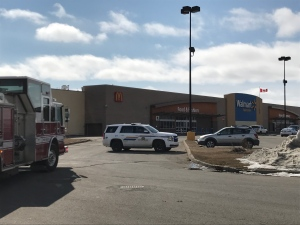 A Wal-Mart store in Yorkton was evacuated following a reported threat Friday, March 24, 2017. (COLTON WIENS/CTV YORKTON)