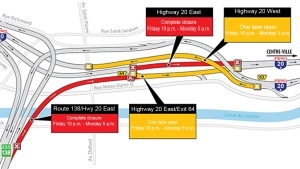 These parts of the highway will be closed starting the evening of Friday March 24, 2017
