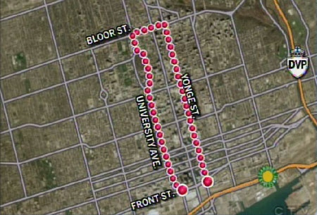 The protest, which runs from the foot of Yonge Street to west of Bloor Street and then back south on University Avenue, is expected to last until 6 p.m.