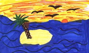 Weather art by Mystri, age 9, from Harwin Elementary School.