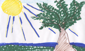 Weather art by Sally, age 11.