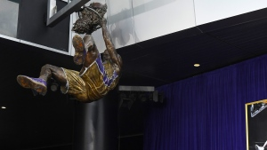 A statue of Shaquille O'Neal is unveiled in front of Staples Center, Friday, March 24, 2017, in Los Angeles. (AP / Mark J. Terrill)