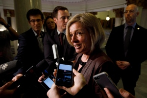 Alberta Premier Rachel Notley speaks to reporters at the Alberta Legislature Building in Edmonton, Alta., on Monday, March 20, 2017. (Codie McLachlan / THE CANADIAN PRESS)