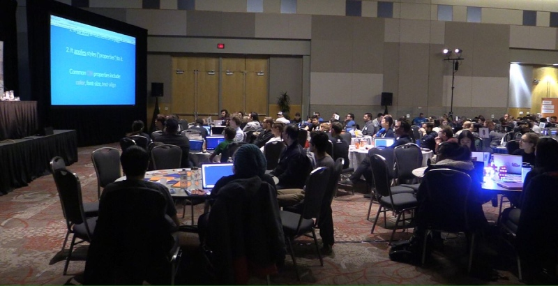 Canada's largest learn-to-code event gave nearly 200 participants in London the chance to improve their digital literacy on Saturday, March 25, 2017.  (Natalie Quinlan / CTV London)