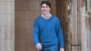 Prime Minister Justin Trudeau arrives for a weekend meeting of the national caucus on Parliament Hill in Ottawa on Saturday, March 25, 2017. THE CANADIAN PRESS/Justin Tang