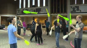 Objects fly through the air at the University of Waterloo Juggling Festival on Saturday, March 25, 2017.