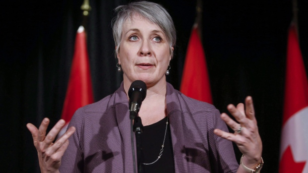 Patty Hajdu, Minister of Employment, Workforce Development and Labour, speaks to reporters at a Liberal cabinet retreat in Calgary, Alta., Monday, Jan. 23, 2017. (Jeff McIntosh/The Canadian Press)