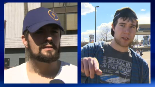 Mackie Martineau (left) and Kaden Clouston helped a number of people escape from Urban Square during Saturday afternoon's fire