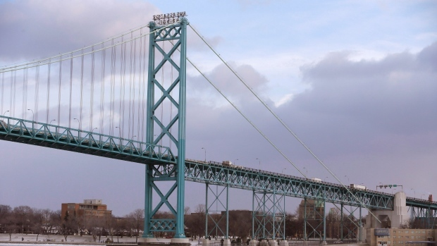 In this photo from Jan. 6, 2015 in Detroit, the Ambassador Bridge leading into Windsor, Ontario is seen from Detroit. (AP / Carlos Osorio)