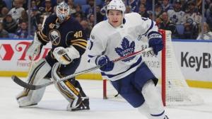 Toronto Maple Leafs forward Zach Hyman (11) skates during the second period of an NHL hockey game against the Buffalo Sabres, Saturday, March 25, 2017, in Buffalo, N.Y. (AP Photo/Jeffrey T. Barnes)