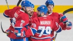 Montreal Canadiens' Andrei Markov (79) celebrates with teammates Shea Weber (6), Andrew Shaw and Alexander Radulov (79) after scoring during second period NHL hockey action against the Ottawa Senators, in Montreal on Saturday, March 25, 2017. (THE CANADIAN PRESS/Graham Hughes)