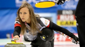 Canada's Rachel Homan releases the stone during their match against Russia in the CPT World Women's Curling Championship 2017 in Beijing, China, Friday, March 24, 2017. (AP Photo/Mark Schiefelbein)