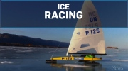 Ice sailing across the deepest freshwater lake