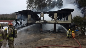 Fire crews responded to a large house fire in Tiny Township, Ont on March 26, 2017.