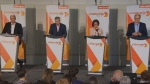 The four candidates for the NDP's leadership met at the Palais des Congres for a bilingual debate on Sunday.