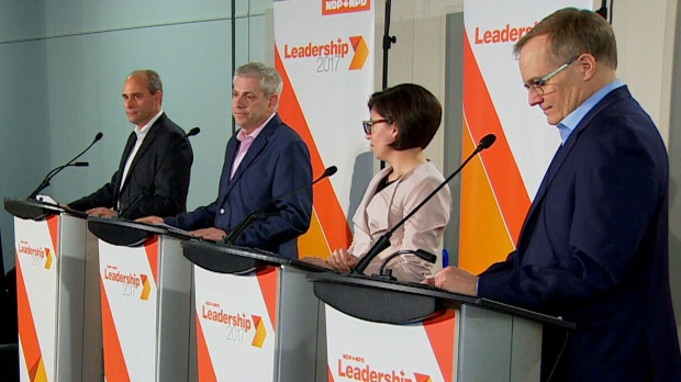 NDP leadership candidates discuss issues affecting Canadian youth during a debate in Montreal on Sunday, March 26, 2017.