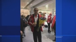 Emile Baz of St-Laurent was greeted at Trudeau Airport after winning a gold medal in figure skating at the Special Olympics World Winter Games in Austria.