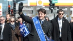 Prime Minister Justin Trudeau takes part in the Greek Independence Day parade in Montreal, Sunday, March 26, 2017. THE CANADIAN PRESS/Ryan Remiorz