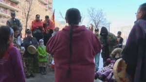 A group of indigenous women led a smudge ceremony behind Portage Place Shopping Centre in an effort to combat addiction and drug trafficking in the neighbourhood.