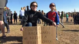 Residents of Northern Community Hills send a message to the province regarding the need for a high school