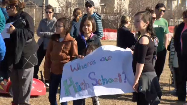 Rally demands new high school for families in north Calgary