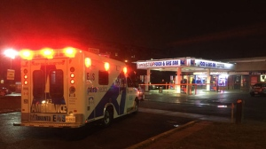 One man was taken to hospital Monday morning following a stabbing near a restaurant in Scarborough. (Mike Nguyen/ CP24)