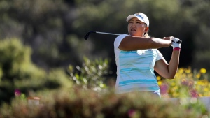 Mirim Lee watches her tee shot on the 14th hole of the Kia Classic LPGA golf tournament on March 26, 2017. (Gregory Bull / AP)