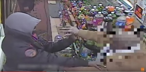 Surveillance footage released by New York police shows an altercation between two men at Shorty's deli in Brooklyn on March 22, 2017. (Storyful / NYPD)