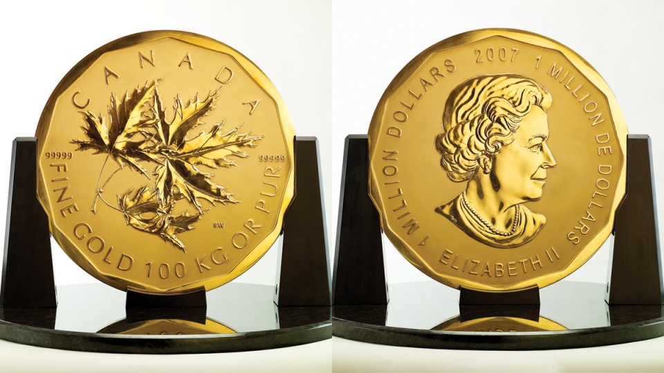 The world's first million dollar coin is seen in this composite image. (Source: Royal Canadian Mint)