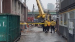 A construction worker in his 40s was rushed to hospital with life-threatening injuries after a panel fell on him. (Jorge Costa/CTV)