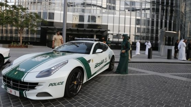 Ferrari is one of the brands seen in the Dubai police fleet. (KARIM SAHIB / AFP)