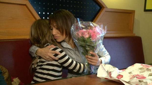Emmah Ross hugging Cst. Tina Pippy.
